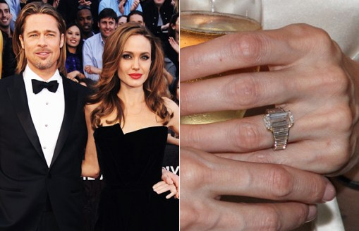 Angelina Jolie's ring has a custom cut diamond in the centre with baguette accent stones either side.