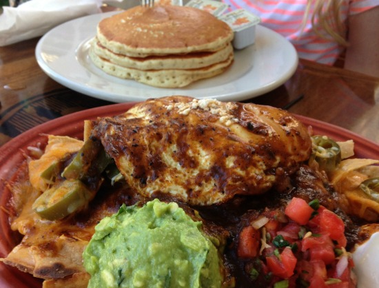 Mexican breakfast and pancakes