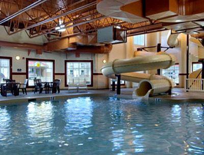 Water slide at hotel pool