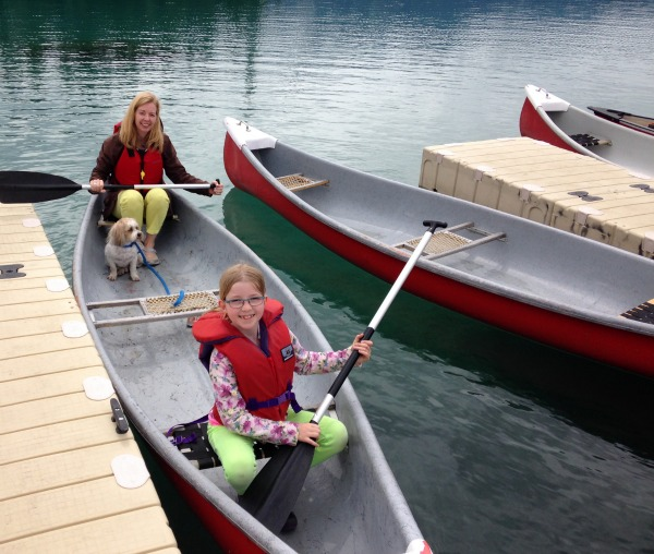 Mother and daughter canoe ride