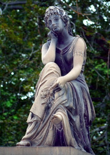 woman in thought sculpture