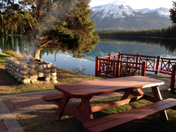 Picnic table at The Fairmont Jasper Park Lodge