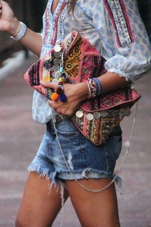 cut offs and hippie purse