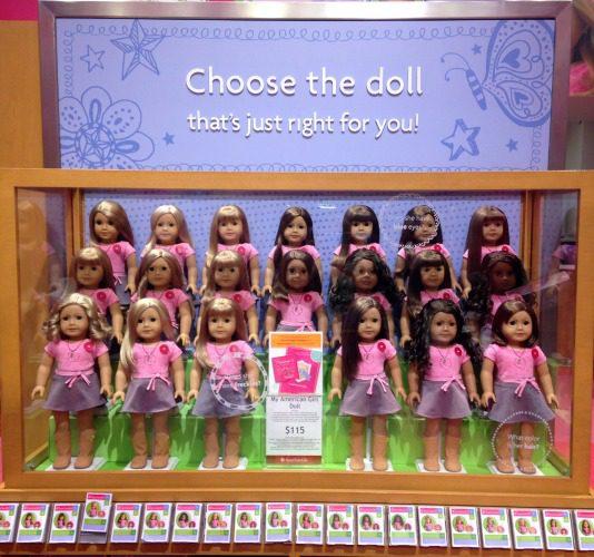 selection of American Girl Dolls
