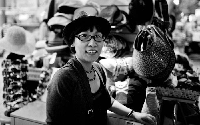Korean woman in hat