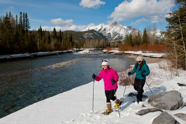 snowshoeing beside a river