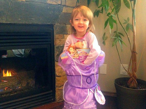 girl holding princess dress