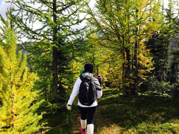 woman autumn hiking