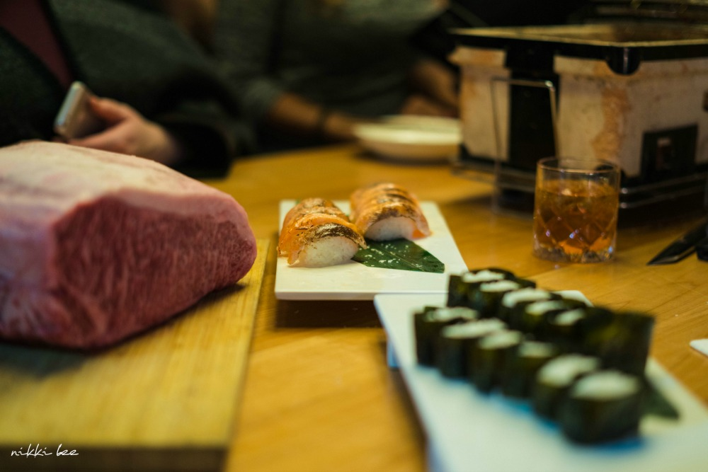 raw beef and sushi