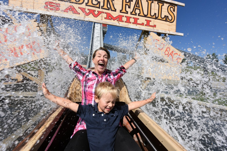 mom and kid on log ride