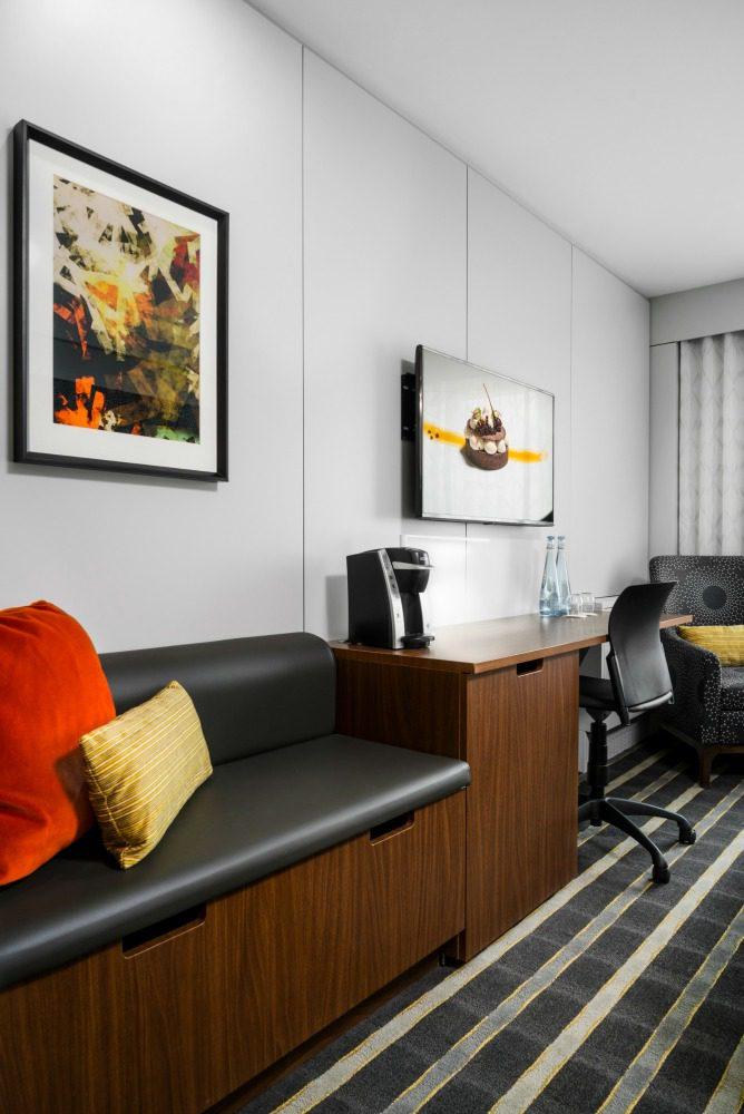 hipster hotel room.