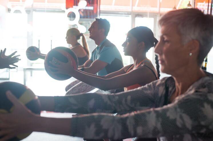 Medicine ball fitness class