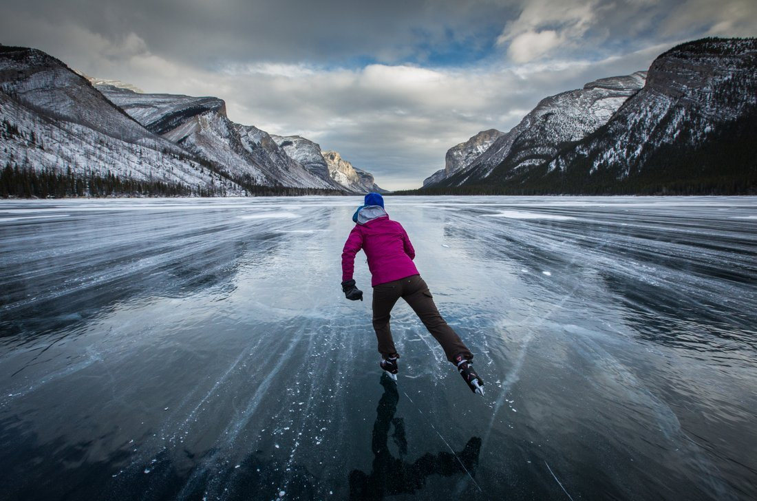 Wild ice skating in banff canada