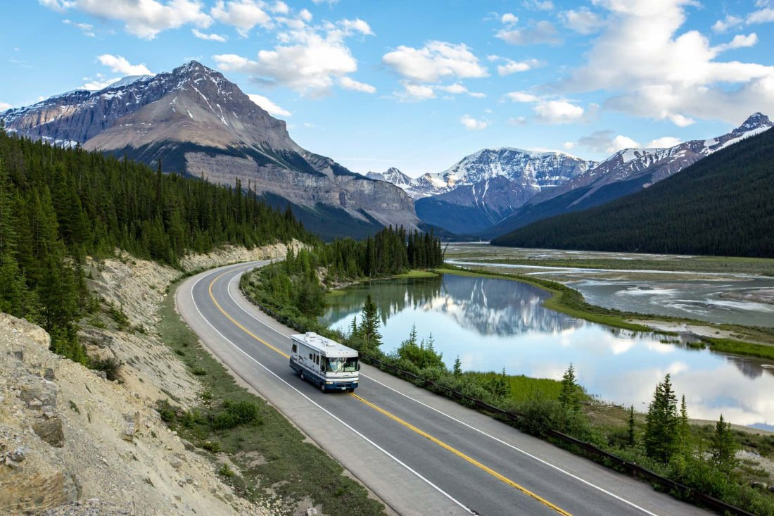 camping driving through national park