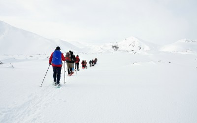 Sneeuwwandelen in Landmannalaugar, IJsland, 2011