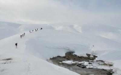 Sneeuwwandeltocht van Landmannalaugar naar Hrafntinnusker hut, IJsland, 2011
