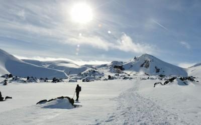 Sneeuwwandelen bij Landmannalaugar, IJsland, 2011