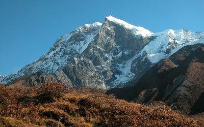 Uitzicht op de Pandim vanaf Lamune, Dzongri Trek, Sikkim, India, 2009