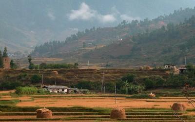 Bhutan, in de buurt van Punakha