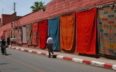 Tapijtenverkoop, Marrakech, Marokko, 2006