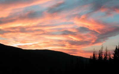 Zonsondergang in Wells Gray Park, Canada, 2008