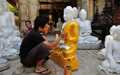 Myanmar, Mandalay, in de buurt van Mahamuni Pagode