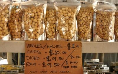 Macademia noten in de aanbieding, Big Island, Hawaii, 2011