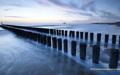 Zonsondergang kustlijn bij Zoutelande, 27-2-2015