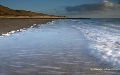 Het strand bij Zoutelande, Nederland, 27-2-2015