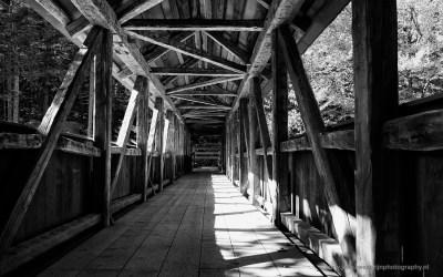 Houten brug bij Flume Gorge, Francionia State Park NH, USA, 6-10-2015