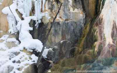 Orange Spring Mound, Angel Terace, Main Terace, Jupiter Terace, Canary Spring, Mammoth Hot Spring, Yellowstone, USA, 19-1-2019