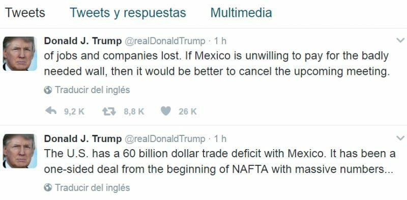 """Trump: """"si no pagan el muro, mejor cancelemos la reunión"""""""