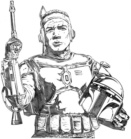 JoeCorroney.com : Star Wars Sketchbook : JangoFettSketch
