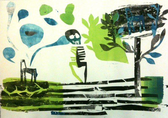 """Monotype, 15x21"""", including ghost images and Mylar """"applique"""" elements"""