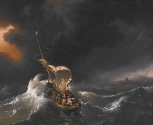 """Christ in the Storm on the Sea of Galilee"" by Ludolf Bakhuizen (1695).  Public domain via Wikimedia Commons."