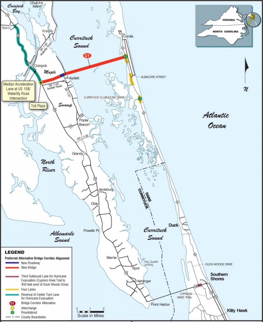 medium resolution of ncot map showing mid currituck bridge location associated road projects