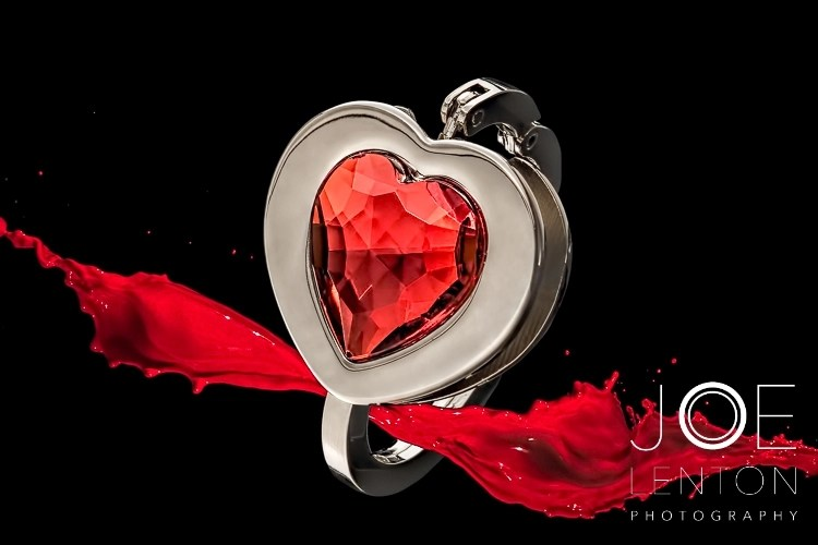 Add value with high quality product photography - heart bracelet with red splash