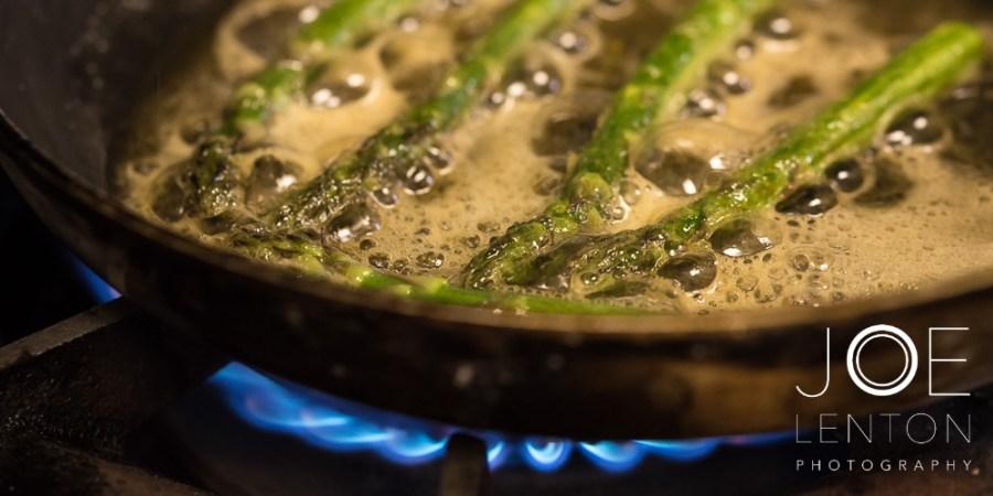 Food Photo Story - Duo of Lamb - frying asparagus