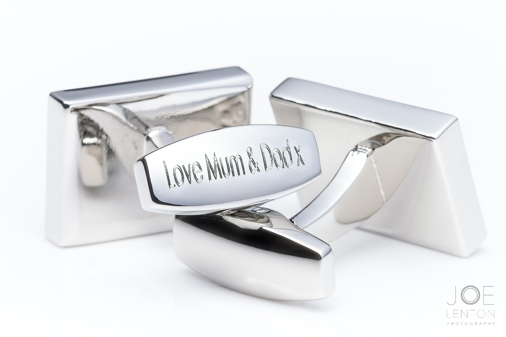 Cufflinks Photography - Product Photography for Badger & Brown - Main Cufflink Shot - Silver Cufflinks