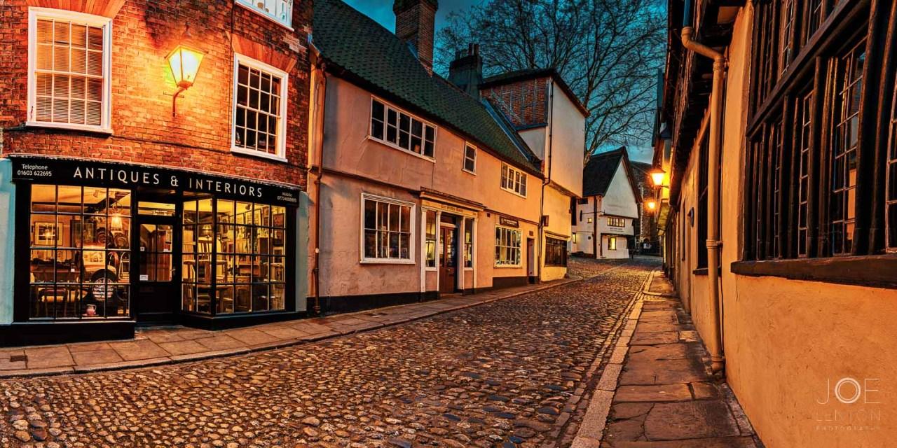 Twilight photo of Elm Hill in Norwich