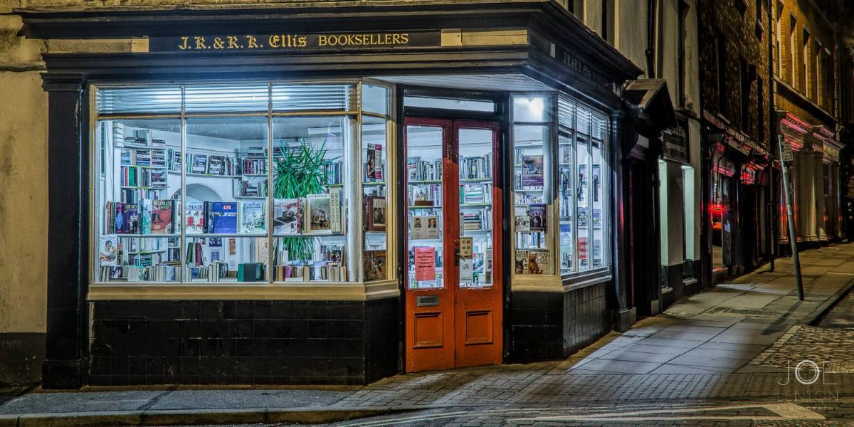 Twilight image of bookshop in Norwich