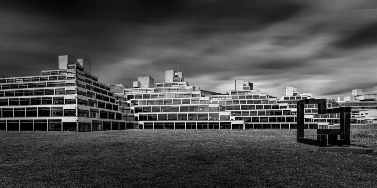 UEA Ziggurats monochrome long exposure