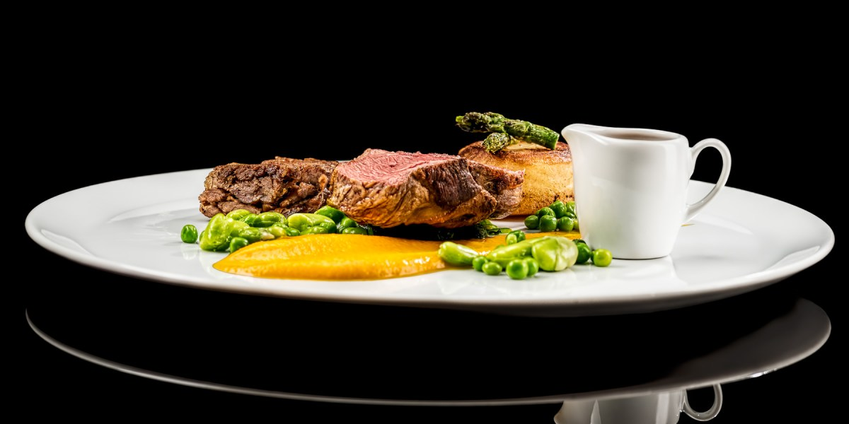 lamb main course side view