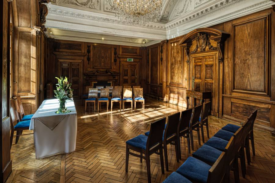 Intimate wedding setup in the Walnut Room at St Giles House