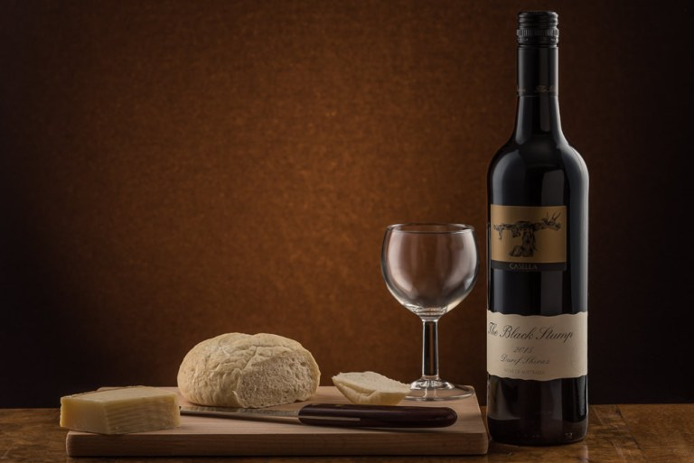 Black Stump red wine with bread & cheese