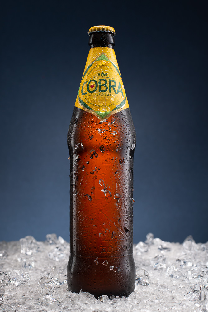 Bottle Photography Sample - Backlit Cobra Beer on Ice