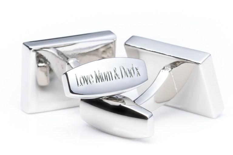 Personalised Engraved Silver Cufflinks
