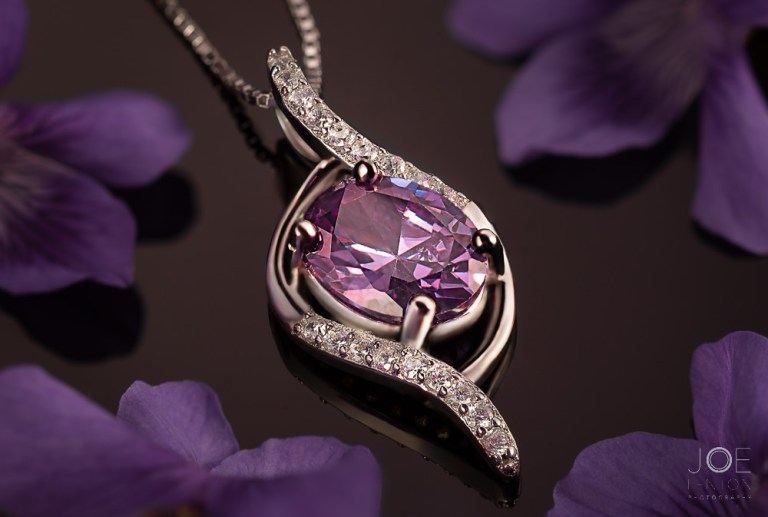 Amethyst Pendant Necklace with Purple flowers