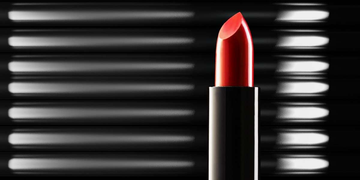 Close up of red lipstick with a CGI background