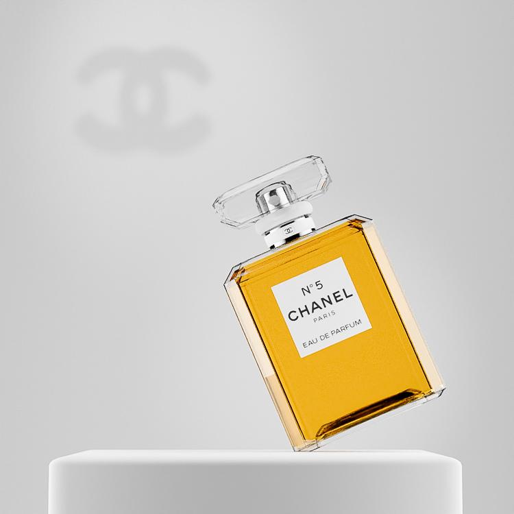 Chanel No 5 Perfume bottle CGI with Chanel Logo